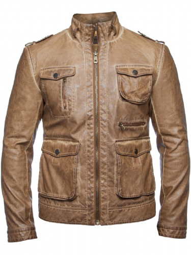 Mish Mash Designer Military Inspired jacket Tan Soft Faux leather PU RRP £90